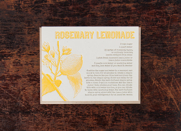 Bison Bookbinding & Letterpress Recipe: Rosemary Lemonade