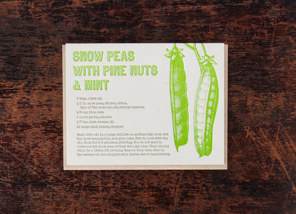 Bison Bookbinding & Letterpress Recipe: Snow Peas with Mint
