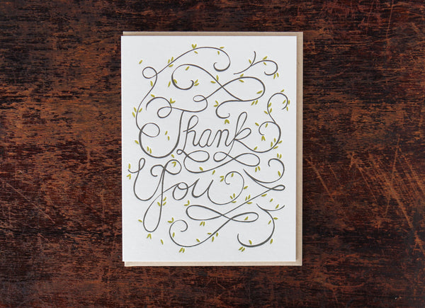 Bison Bookbinding and Letterpress Calligraphy Thank You Vines