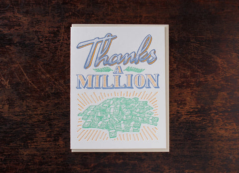 Bison Bookbinding & Letterpress Old-Timey Greetings Thanks A Million