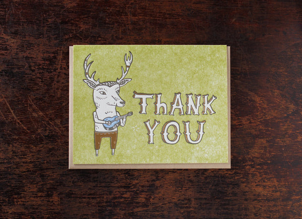 Whimpsical Thank You Deer Greeting Card by Cary Lane Bison Bookbinding & Letterpress