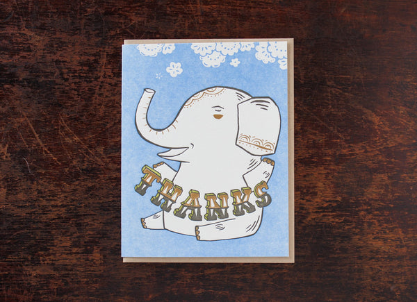 Thanks Elephant Card by Cary Lane Bison Bookbinding and Letterpress