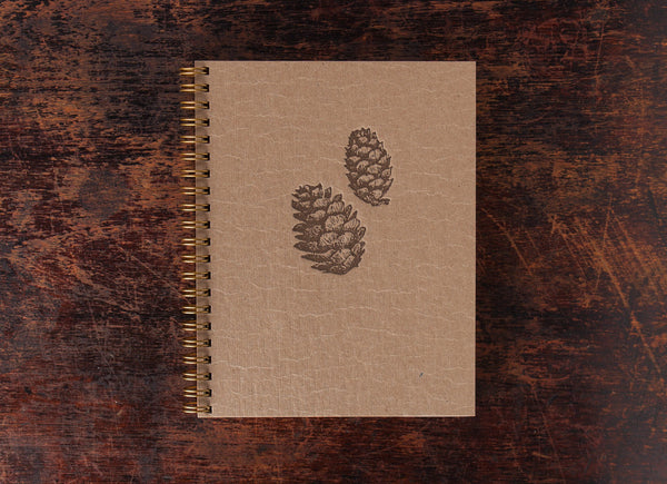 Bison Bookbinding and Letterpress Note Book Pine Cones