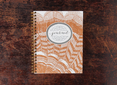 Bison Bookbinding & Letterpress Note Book: Turkey Feathers