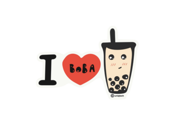 I Heart Boba Tapioca Milk Tea Sticker