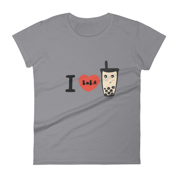 I heart boba bubble milk tea t-shirt  - Women's short sleeve t-shirt