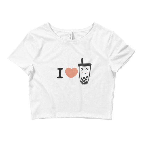 I heart boba I love boba Women's Crop Tee