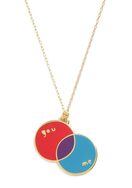 You:Me you and me venn diagram Pendant necklace by Yellow Owl Workshop