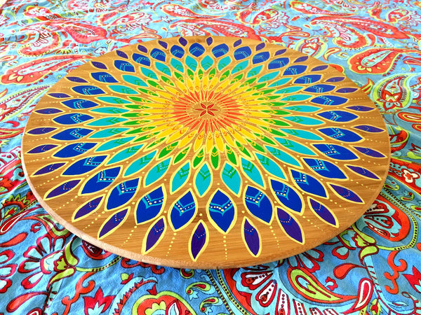 Bamboo Lazy Susan (Limited Edition) - Rainbow Mandala - Chachi's Bay - kids rashies - kids swimwear - kids swim shoes - pool floats - floaties - inflatables - beach wear - pool wear - sunsmart - suncream - baby and kids suncream - baby swimwear - baby shoes - pool accessories - sun hats