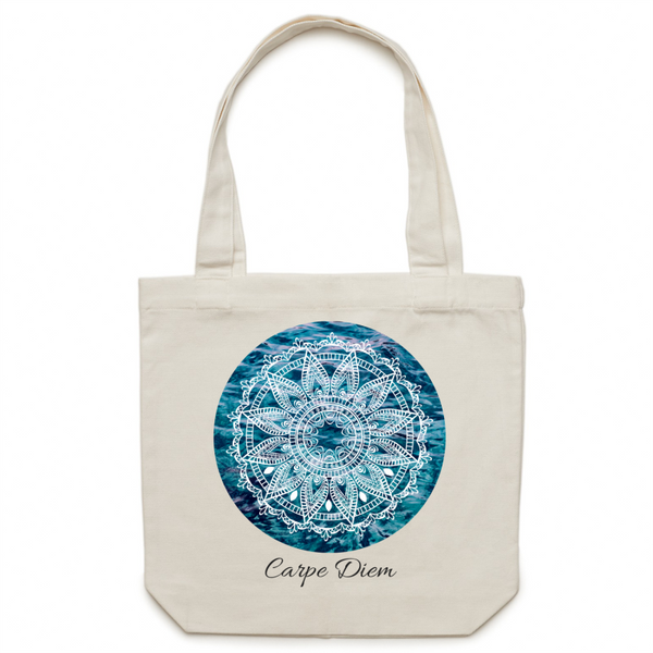 Canvas Tote Bag - Carpe Diem - mandala rasa - bohemian lifestyle - mandala - home decor - clothing - yoga - activewear