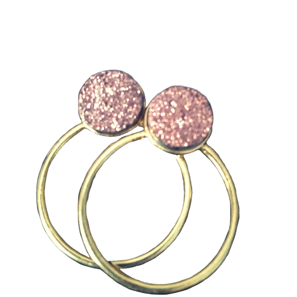 Drusy Crystal earrings - Rose Gold Hoops