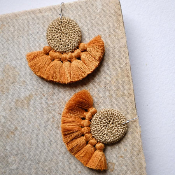 Crochet Single Disc Tassel Earrings - Cumin & Turmeric