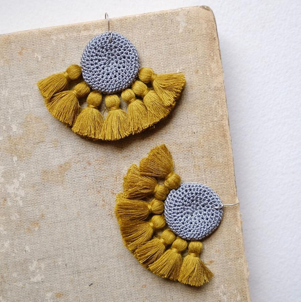 Crochet Single Disc Tassel Earrings - Grey & Cumin