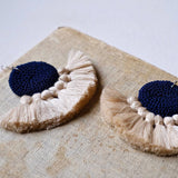 Crochet Single Disc Tassel Earrings - Midnight Blue & Beige