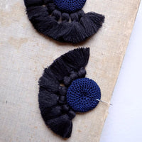 Crochet Single Disc Tassel Earrings - Midnight Blue & Black