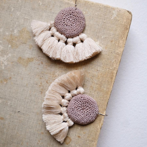 Crochet Single Disc Tassel Earrings - Mink & Beige