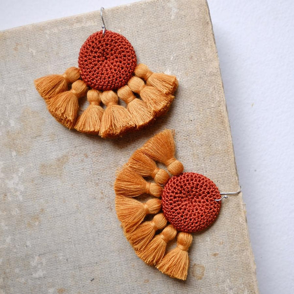 Crochet Single Disc Tassel Earrings - Rust & Turmeric