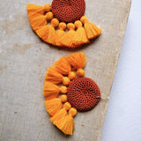 Crochet Single Disc Tassel Earrings - Rust and Yolk