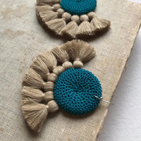 Crochet Single Disc Tassel Earrings - Turquoise & Straw