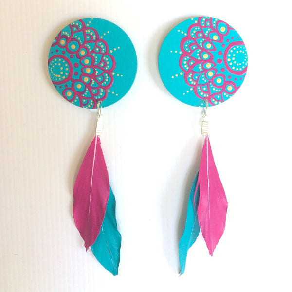 Mandala Wood & Feather Earrings - Turquoise & Pink