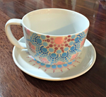 Jumbo Teacup & Saucer Set with Dotwork