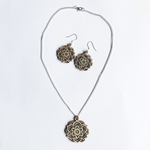Mandala Necklace & Earrings Set - Lotus