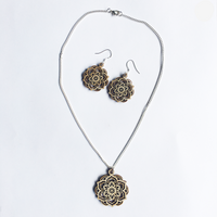 Mandala Necklace & Earrings Set - Lotus - mandala rasa - bohemian lifestyle - mandala - home decor - clothing - yoga - activewear