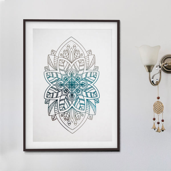 Blue and Silver Foil Art Print
