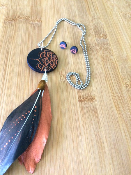 Mandala Wood & Feather Necklace & Earrings Set - Navy & Copper