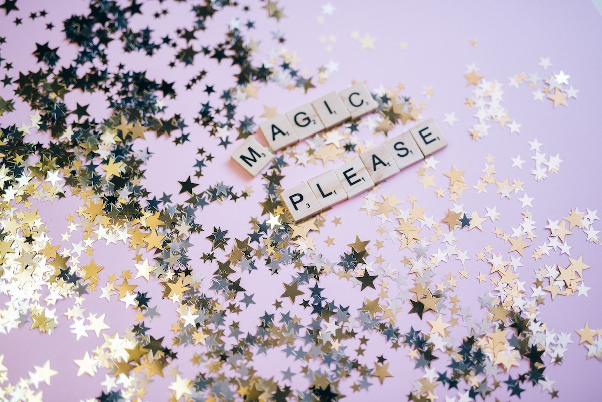 """Stars and letters reading """"magic please"""""""
