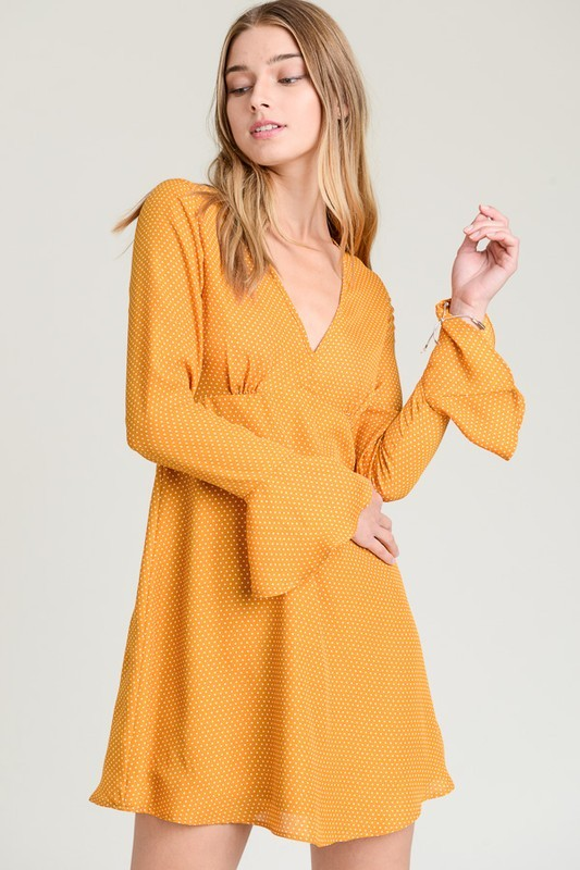 Mustard bell sleeve Dress