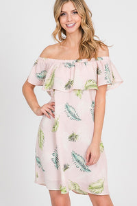 Off the shoulder leaves tunic dress
