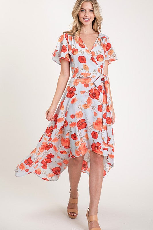 Gray and Orange Floral High Low Dress