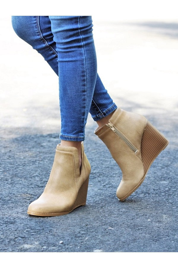 Taupe ankle booties