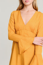 Load image into Gallery viewer, Mustard bell sleeve Dress