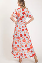 Load image into Gallery viewer, Gray and Orange Floral High Low Dress