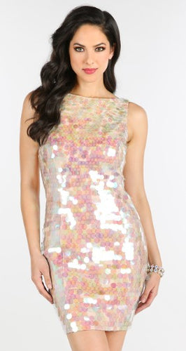 Rose multi pink sequin dress