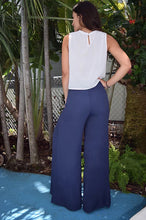 Load image into Gallery viewer, Navy slit pants