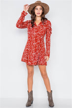 Load image into Gallery viewer, Red Floral Wrap Dress