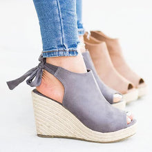 Load image into Gallery viewer, Peep toe espadrille wedges