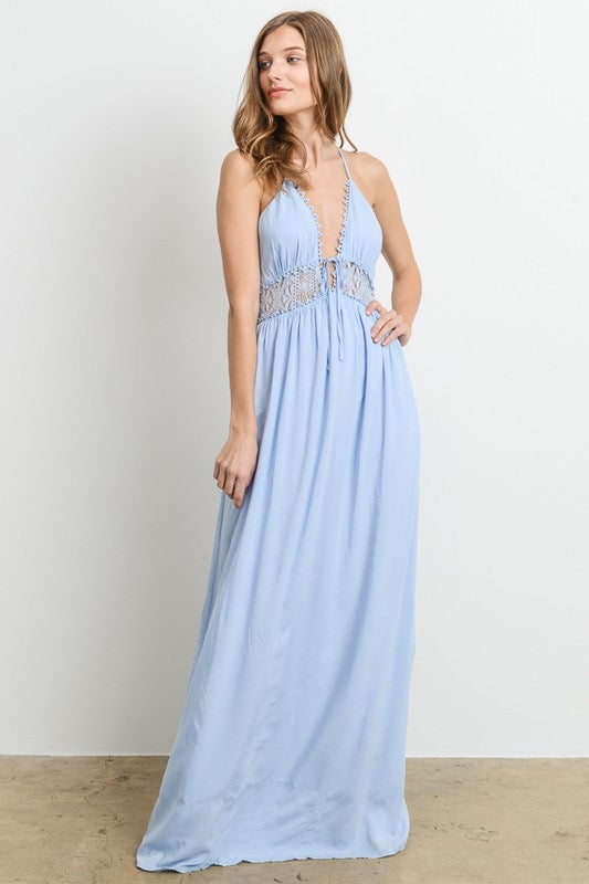 Blue crochet detail Maxi