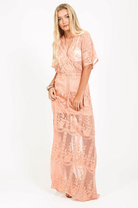 Lace embroidered maxi