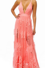 Load image into Gallery viewer, Pink Floral Tille Maxi Dress