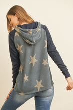Load image into Gallery viewer, DARK NAVY STAR PRINT HOODIE SWEATER