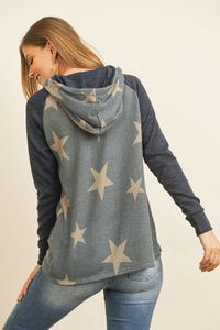 DARK NAVY STAR PRINT HOODIE SWEATER