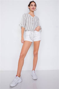 Stripe 3/4 sleeve Blouse