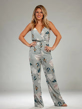 Load image into Gallery viewer, Gray floral Jumpsuit