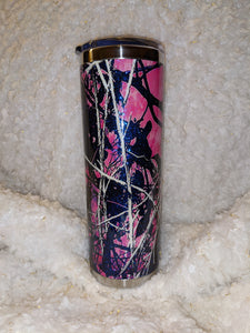 Pink camouflage/blue opaque glitter 20oz Tumbler