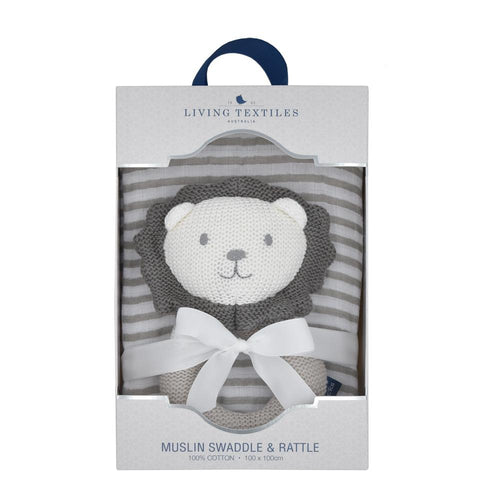 Austin The Lion Rattle & Muslin Wrap Set