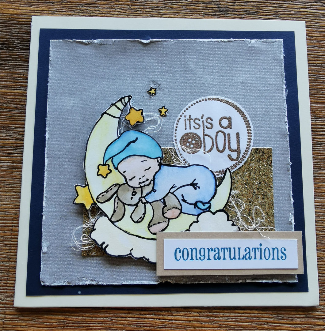 Sleeping baby card - blue